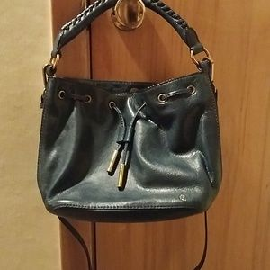 Navy blue leather drawstring purse